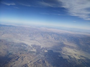 flying over Southern California