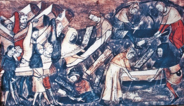 Burying victims of the Black Death
