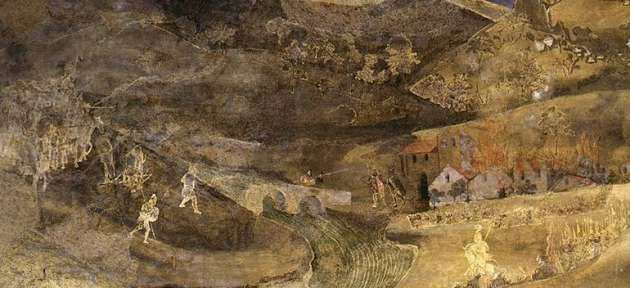 Detail of fresco: Soldiers invading